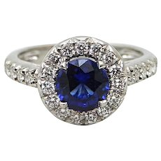 1.53 Carat Sapphire and Diamond Platinum Ring