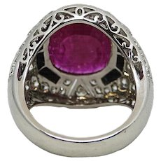 5.72 Carat Cushion Cut Ruby with Diamonds and Black Onyx Platinum Ring