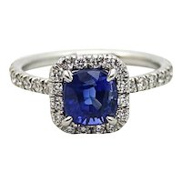 1.99 Carat Cushion Cut Sapphire and Diamond Platinum Ring