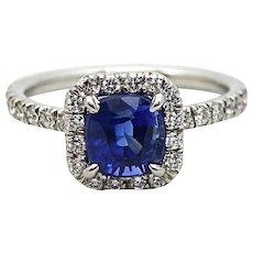 1.99 Carat Cushion Cut Sapphire and Diamond Platinum Ring