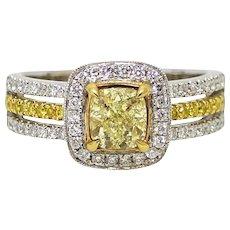 1.01 Carat Cushion Cut Yellow Diamond White and Yellow Gold Ring