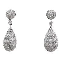 2.85 Carat Tear Drop Diamond White Gold Earrings