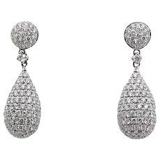 2.85 Carat Tear Drop Diamond White Gold Earrings