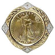 Yellow Gold Liberty Coin Pendant