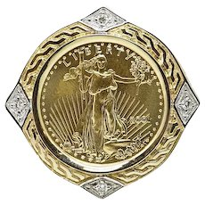 Yellow Gold Liberty Coin Pendant