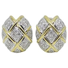 18K Two Toned Diamond Earrings