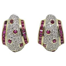 18K Two Toned Ruby and Diamond Earrings