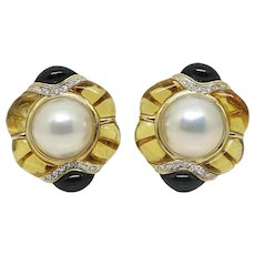 Yellow Gold Pearls, Topaz, Onyx and Diamonds