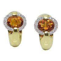 Yellow Gold Topaz and Diamond Earrings