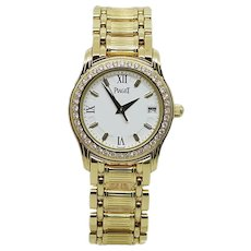 18K Yellow Gold Diamond Bezel Ladies Polo Watch Ref. 22005 M 501 D