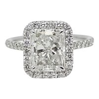 3.03 Carat Radiant Cut Diamond Platinum Ring