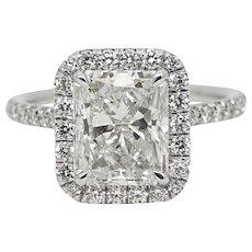 3.03 Carat Radiant Cut Diamond Platinum Ring