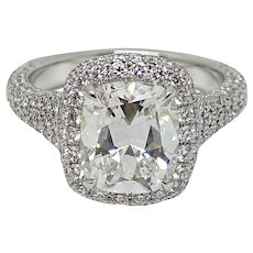 Platinum 3.02 Cushion Cut Diamond Ring