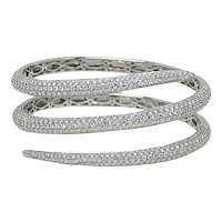 18K White Gold Diamond Warp Around Bangle