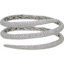 18K White Gold Diamond Warp Around Bangle