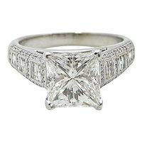 18K White Gold 3.57 CArat Princess Cut Diamond Engagement Ring