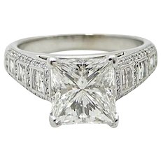 18K White Gold 3.57 CArat Princess Cut Diamond Engagement Ring