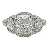 2.71 Carat Radiant Diamond and Half Moon Diamond Platinum Engagement Ring