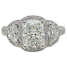2.71 Carat Radiant Diamond and Half Moon Diamond Platinum Engagement Ring