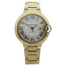 Cartier 18K Yellow Gold Ballon Bleu 33mm Automatic Wrist Watch
