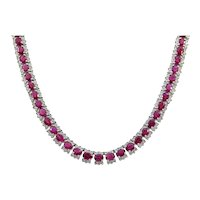 21.12 Carat Ruby and Diamond White Gold Necklace