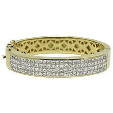 8.00 Carat Invisible Set Diamond Bangle Bracelet