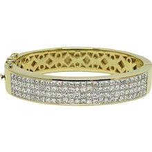 8.00 Carat Invisible Set Diamond Bangle Bracelet