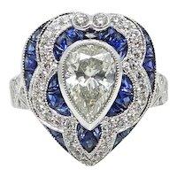 Platinum 1.34 Pear Shaped Diamond and Calibre Sapphire Ring