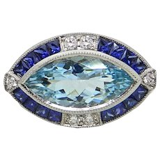 18K White Gold 3.08 Carat Aquamarine, Sapphire and Diamond Ring