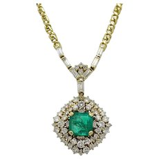 5.05 Carat Colombian Emerald and Diamond Yellow Gold Necklace
