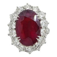 Platinum 10.18 Carat Ruby and Diamond Ring