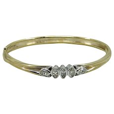 Marquise Diamond Yellow Gold Bangle