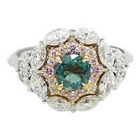 Two Toned Alexandrite, Diamond and Pink Diamond Ring