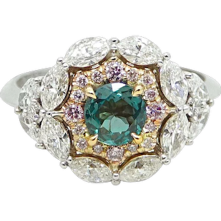 Two Toned Alexandrite, Diamond and Pink Diamond Ring
