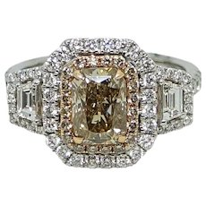 1.67 Carat Dark Brown Diamond Ring