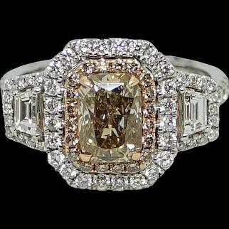 1.67 Carat Dark Brown Diamond Ring