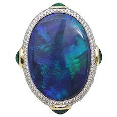18.93 Carat Australian Black Opal Pamela Huizenga Ring