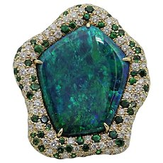 12.79 Carat Australian Opal Pamela Huizenga Yellow Gold Ring