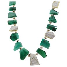 Pamela Huizenga 343.80 Carat Faceted Emerald Nugget Bead Necklace