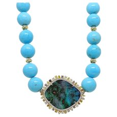 Pamela Huizenga 42.24 Carat Opal and Turqouise Bead Necklace