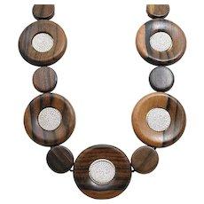 Round Wood Beads and Pave Diamond Pamela Huizenga Necklace