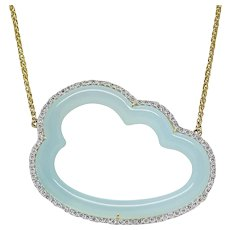 Pamela Huizenga Silver Lining Blue Chalcedony Yellow Gold Necklace