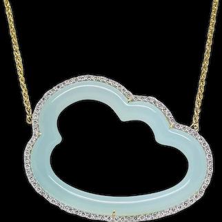 Pamela Huizenga Silver Lining Blue Chalcedony Yellow Gold Necklace