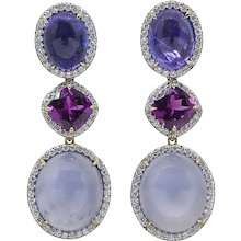 Pamela Huizenga Tanzanite, Garnets, and Chalcedony Drop Earrings