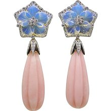 95.31 Carat Carved Opal Pamela Huizenga Yellow Gold Drop Earrings