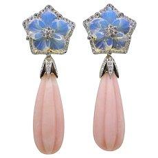 95.31 Carat Carved Opal Pamela Huizenga Yellow Gold Drop Earrings