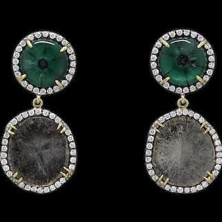 Pamela Huizenga Trapiche Emerald and Diamond Slice Earrings
