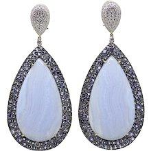 69.84 Carat Blue Agate and Tanzanite Pamela Huizenga Tear Drop Earrings