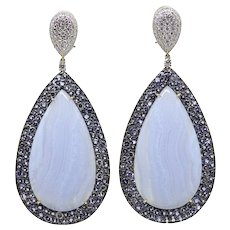 69.84 Carat Blue Agate and Tanzanite Pamela Huizenga Tear Drop Earrings