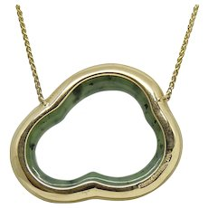 Pamela Huizenga Silver Lining Nephrite Yellow Gold Necklace